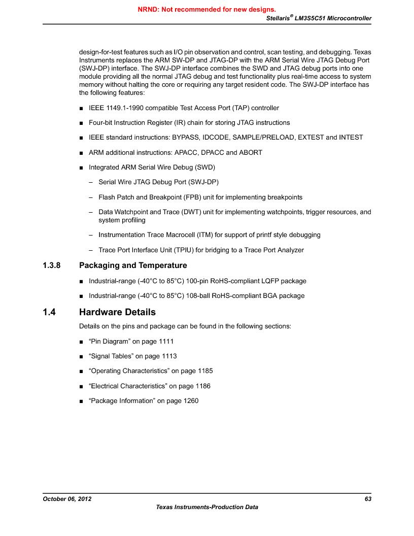 LM3S5C51-IBZ80-A1 ,Texas Instruments厂商,IC ARM CORTEX MCU 512KB 108NFBGA, LM3S5C51-IBZ80-A1 datasheet预览  第63页