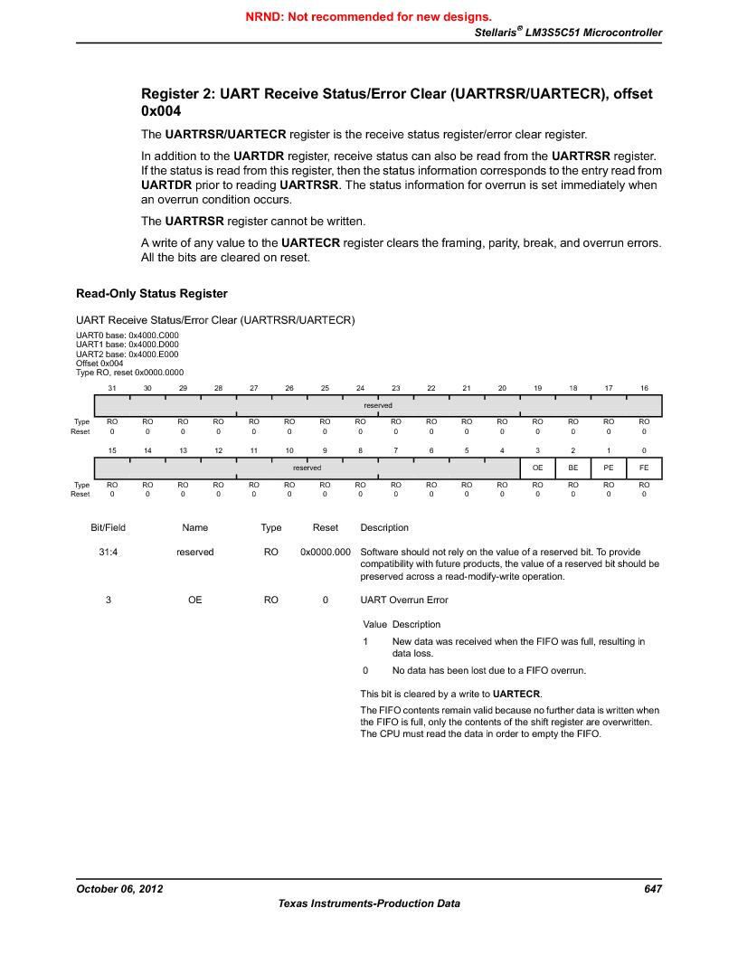 LM3S5C51-IBZ80-A1 ,Texas Instruments厂商,IC ARM CORTEX MCU 512KB 108NFBGA, LM3S5C51-IBZ80-A1 datasheet预览  第647页