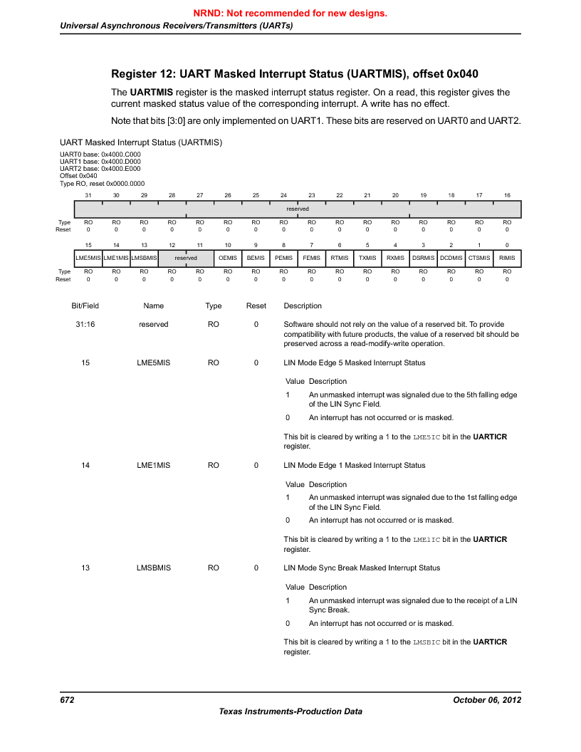 LM3S5C51-IBZ80-A1 ,Texas Instruments厂商,IC ARM CORTEX MCU 512KB 108NFBGA, LM3S5C51-IBZ80-A1 datasheet预览  第672页