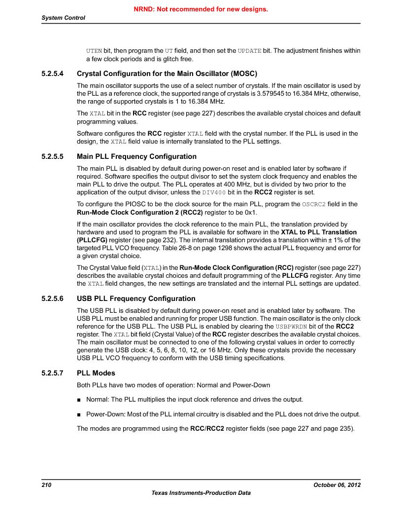 LM3S9BN6-IQC80-C3 ,Texas Instruments厂商,IC ARM CORTEX MCU 256KB 100LQFP, LM3S9BN6-IQC80-C3 datasheet预览  第210页