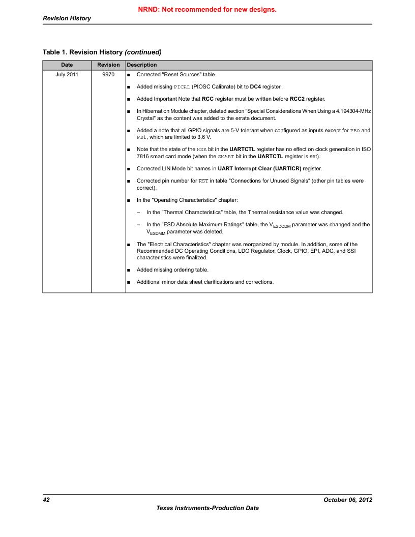 LM3S9BN6-IQC80-C3 ,Texas Instruments厂商,IC ARM CORTEX MCU 256KB 100LQFP, LM3S9BN6-IQC80-C3 datasheet预览  第42页