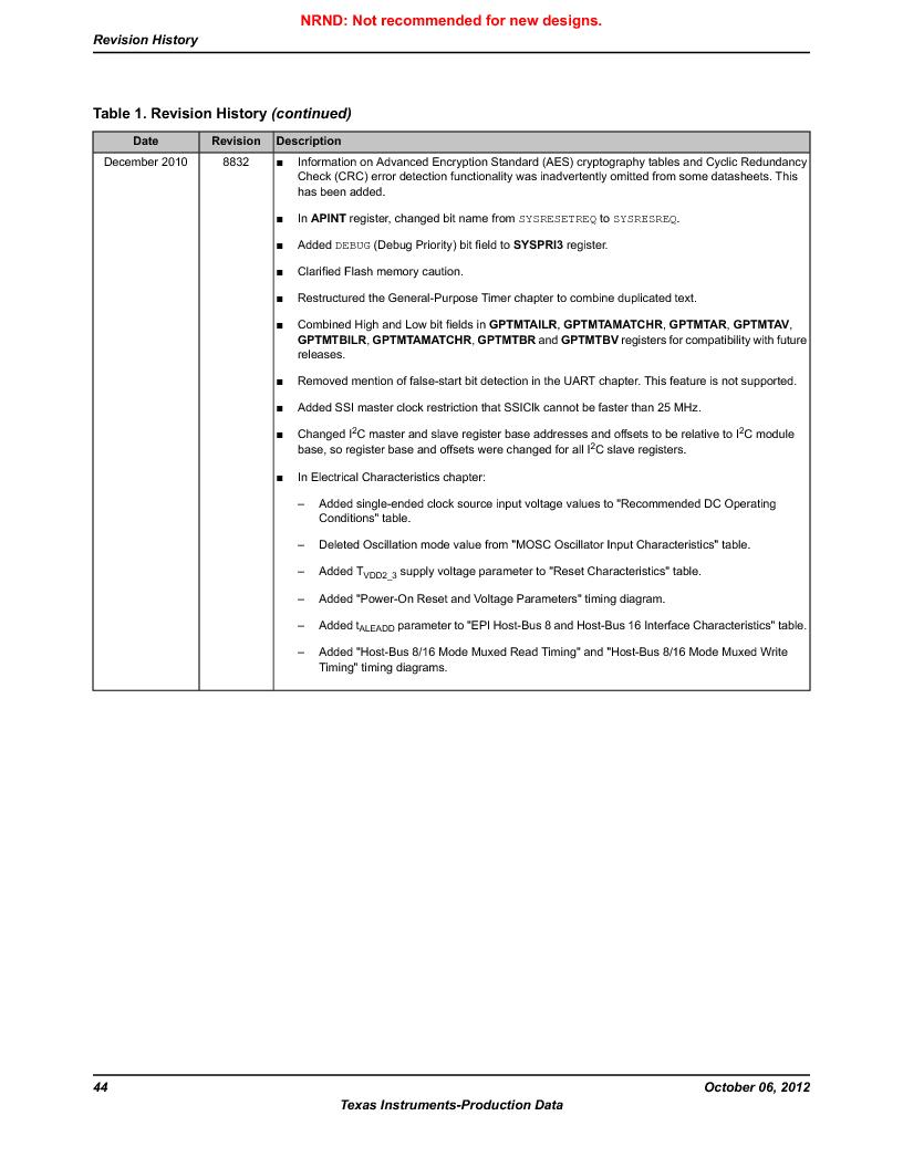 LM3S9BN6-IQC80-C3 ,Texas Instruments厂商,IC ARM CORTEX MCU 256KB 100LQFP, LM3S9BN6-IQC80-C3 datasheet预览  第44页