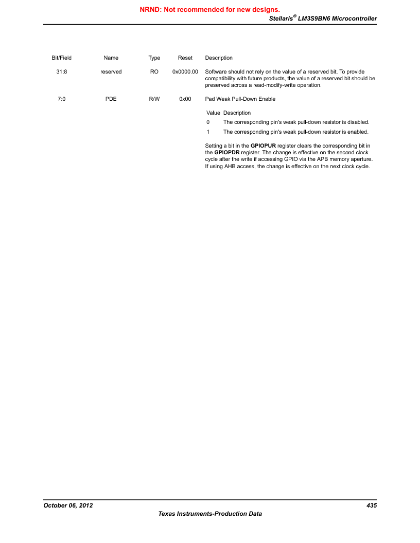 LM3S9BN6-IQC80-C3 ,Texas Instruments厂商,IC ARM CORTEX MCU 256KB 100LQFP, LM3S9BN6-IQC80-C3 datasheet预览  第435页