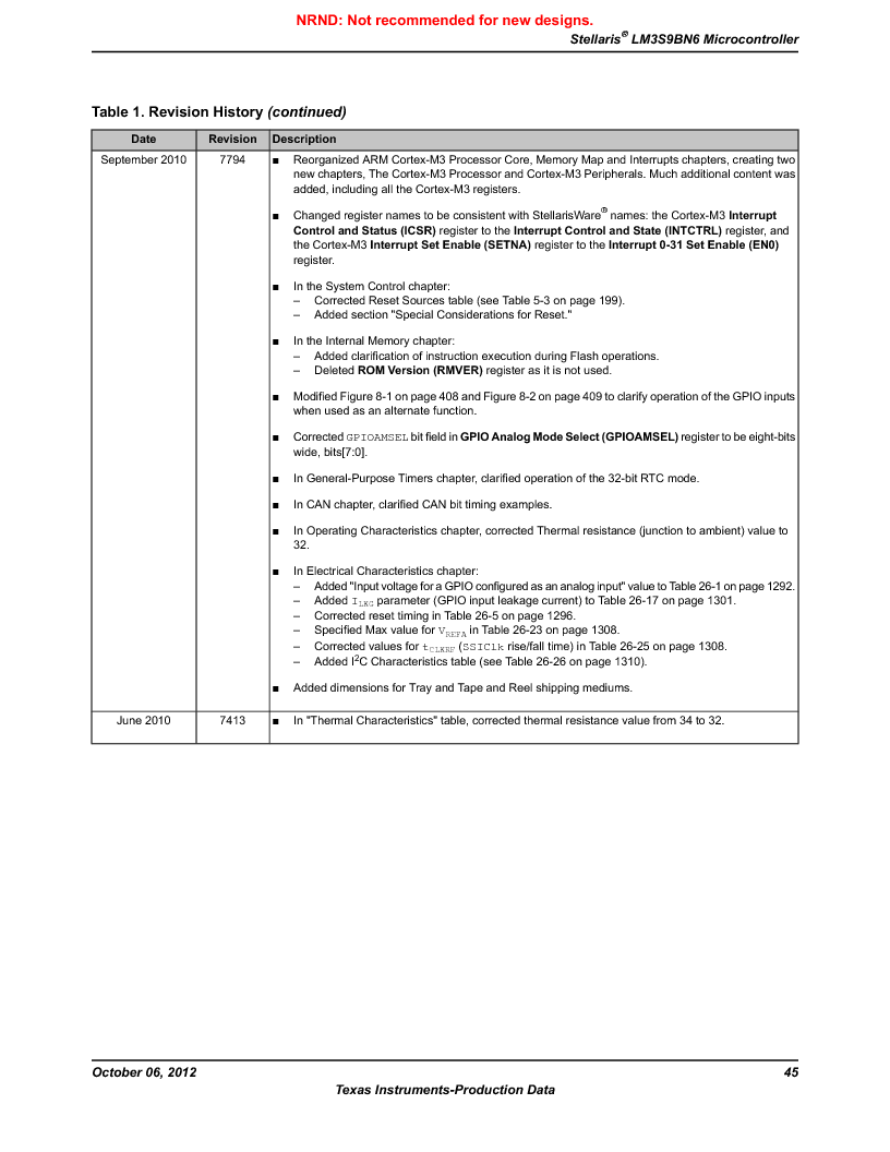LM3S9BN6-IQC80-C3 ,Texas Instruments厂商,IC ARM CORTEX MCU 256KB 100LQFP, LM3S9BN6-IQC80-C3 datasheet预览  第45页