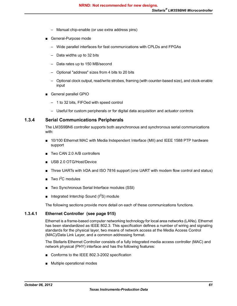 LM3S9BN6-IQC80-C3 ,Texas Instruments厂商,IC ARM CORTEX MCU 256KB 100LQFP, LM3S9BN6-IQC80-C3 datasheet预览  第61页