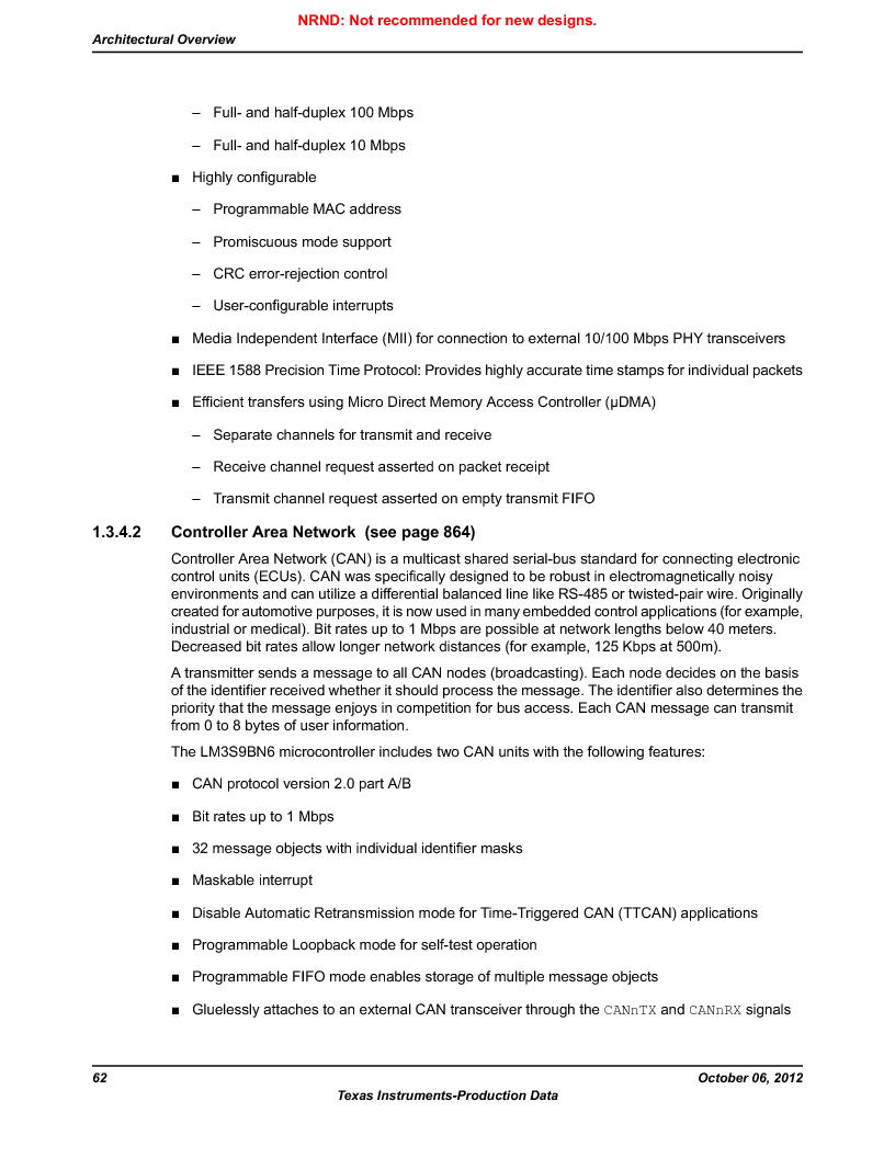 LM3S9BN6-IQC80-C3 ,Texas Instruments厂商,IC ARM CORTEX MCU 256KB 100LQFP, LM3S9BN6-IQC80-C3 datasheet预览  第62页
