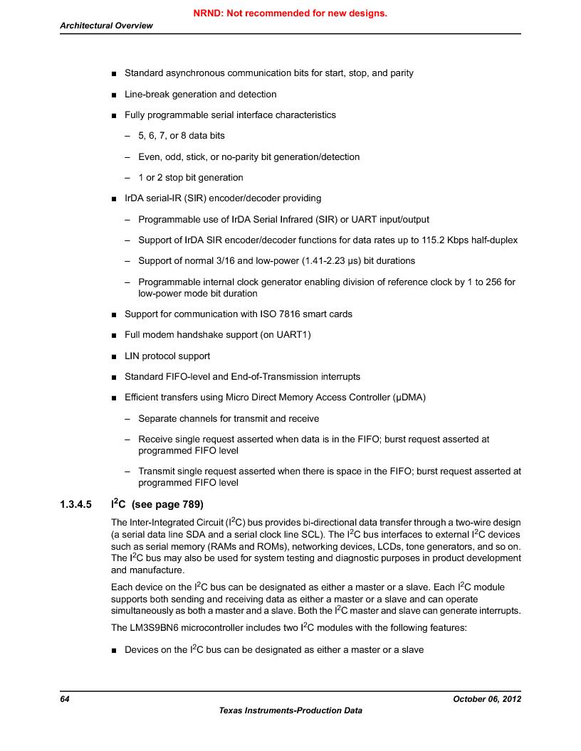 LM3S9BN6-IQC80-C3 ,Texas Instruments厂商,IC ARM CORTEX MCU 256KB 100LQFP, LM3S9BN6-IQC80-C3 datasheet预览  第64页