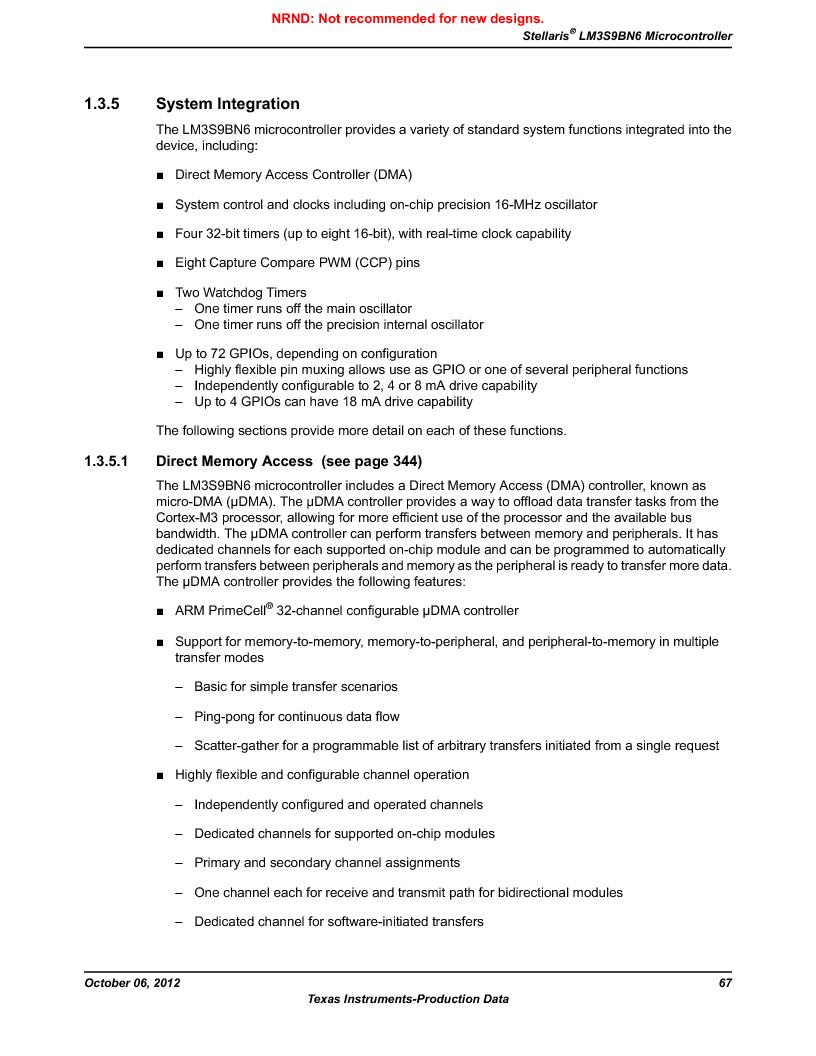 LM3S9BN6-IQC80-C3 ,Texas Instruments厂商,IC ARM CORTEX MCU 256KB 100LQFP, LM3S9BN6-IQC80-C3 datasheet预览  第67页
