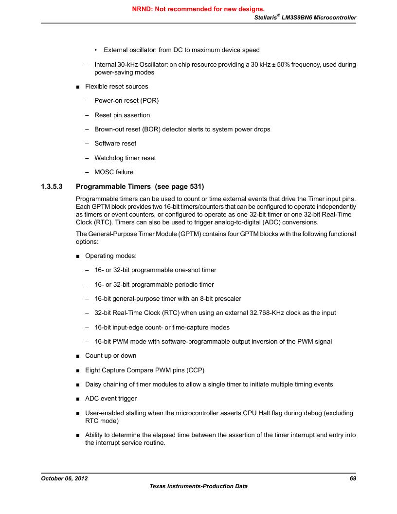 LM3S9BN6-IQC80-C3 ,Texas Instruments厂商,IC ARM CORTEX MCU 256KB 100LQFP, LM3S9BN6-IQC80-C3 datasheet预览  第69页