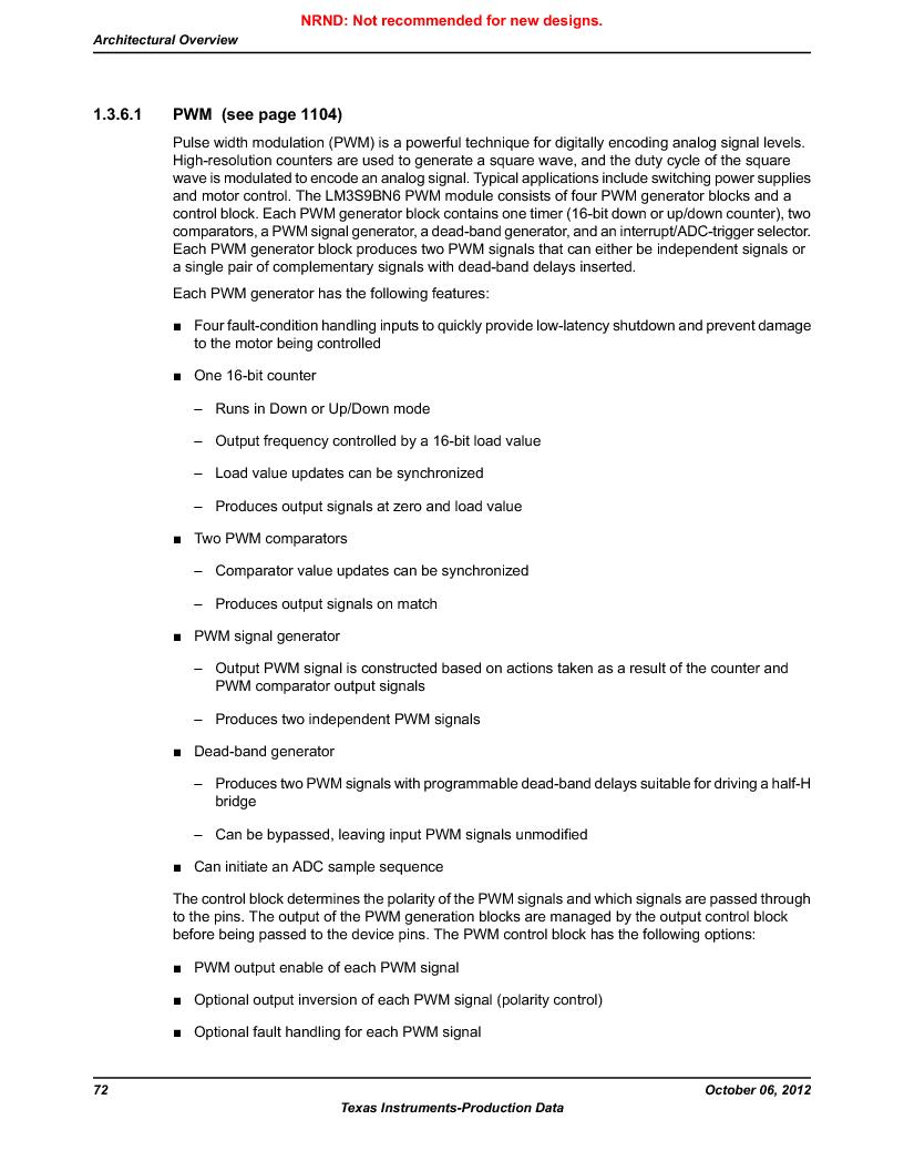 LM3S9BN6-IQC80-C3 ,Texas Instruments厂商,IC ARM CORTEX MCU 256KB 100LQFP, LM3S9BN6-IQC80-C3 datasheet预览  第72页