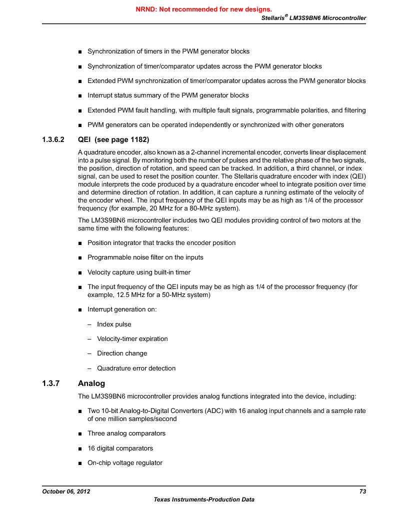 LM3S9BN6-IQC80-C3 ,Texas Instruments厂商,IC ARM CORTEX MCU 256KB 100LQFP, LM3S9BN6-IQC80-C3 datasheet预览  第73页