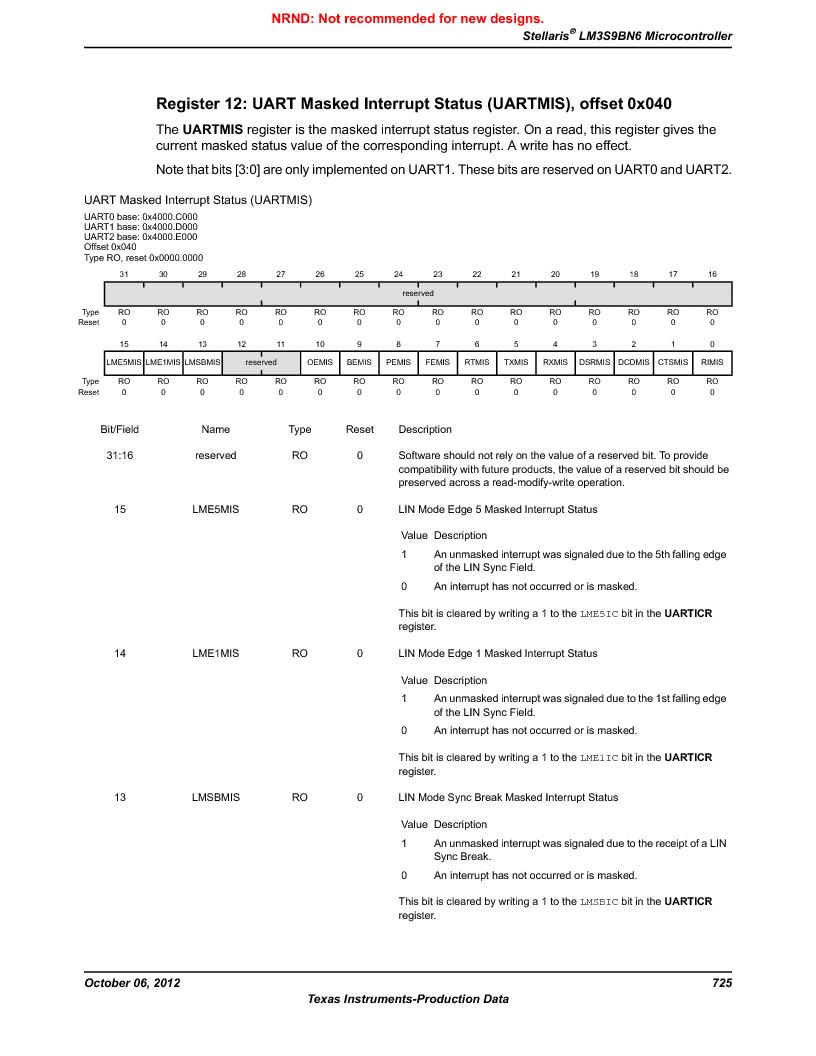 LM3S9BN6-IQC80-C3 ,Texas Instruments厂商,IC ARM CORTEX MCU 256KB 100LQFP, LM3S9BN6-IQC80-C3 datasheet预览  第725页