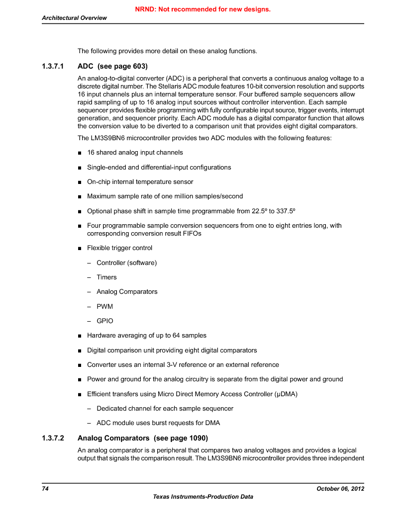 LM3S9BN6-IQC80-C3 ,Texas Instruments厂商,IC ARM CORTEX MCU 256KB 100LQFP, LM3S9BN6-IQC80-C3 datasheet预览  第74页