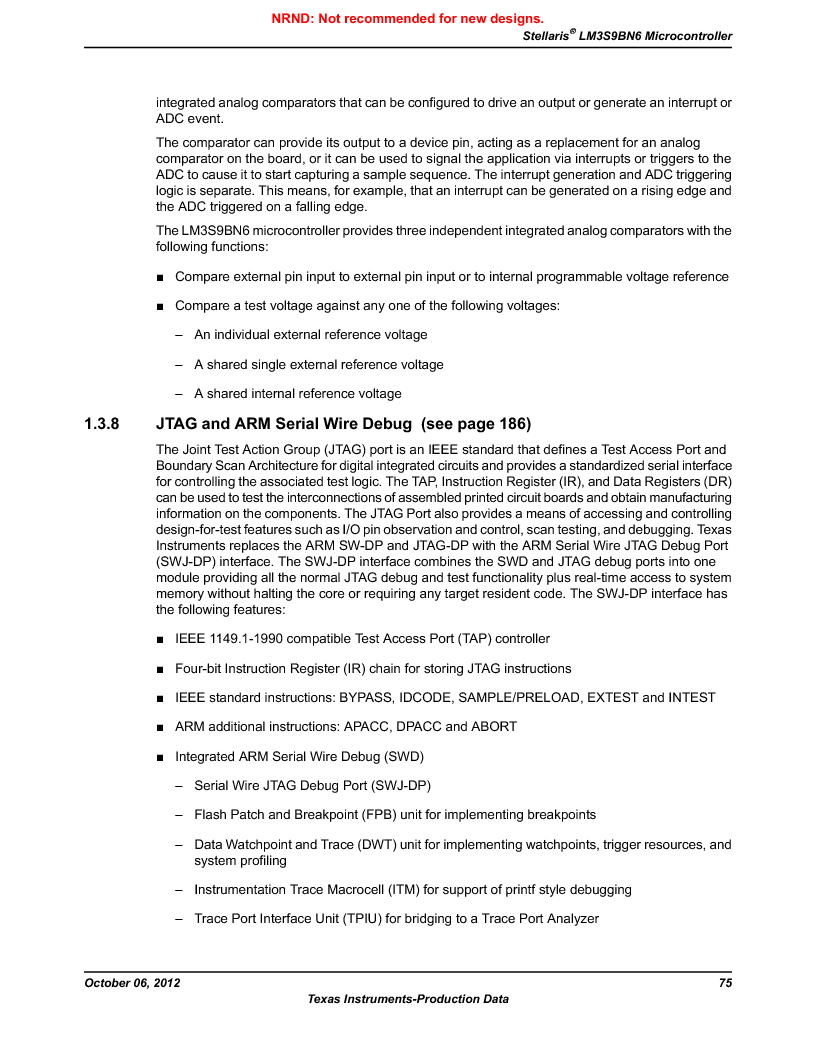 LM3S9BN6-IQC80-C3 ,Texas Instruments厂商,IC ARM CORTEX MCU 256KB 100LQFP, LM3S9BN6-IQC80-C3 datasheet预览  第75页