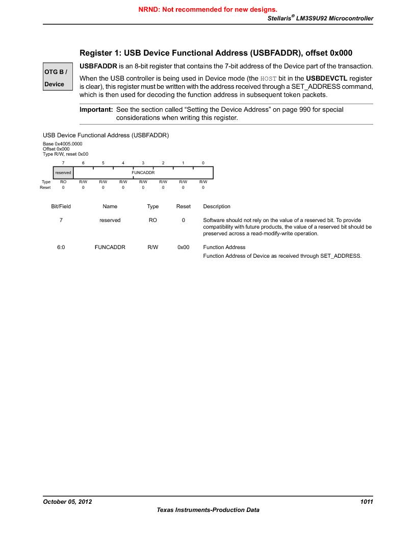 LM3S9U92-IBZ80-A2 ,Texas Instruments厂商,IC ARM CORTEX MCU 384KB 108NFBGA, LM3S9U92-IBZ80-A2 datasheet预览  第1011页