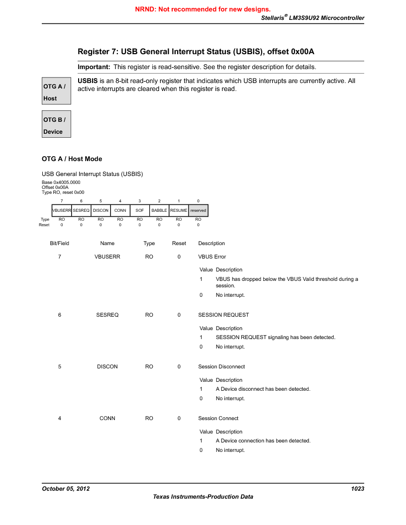 LM3S9U92-IBZ80-A2 ,Texas Instruments厂商,IC ARM CORTEX MCU 384KB 108NFBGA, LM3S9U92-IBZ80-A2 datasheet预览  第1023页