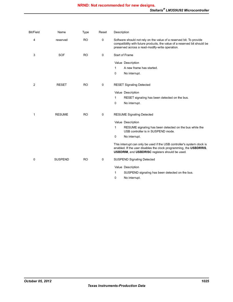 LM3S9U92-IBZ80-A2 ,Texas Instruments厂商,IC ARM CORTEX MCU 384KB 108NFBGA, LM3S9U92-IBZ80-A2 datasheet预览  第1025页