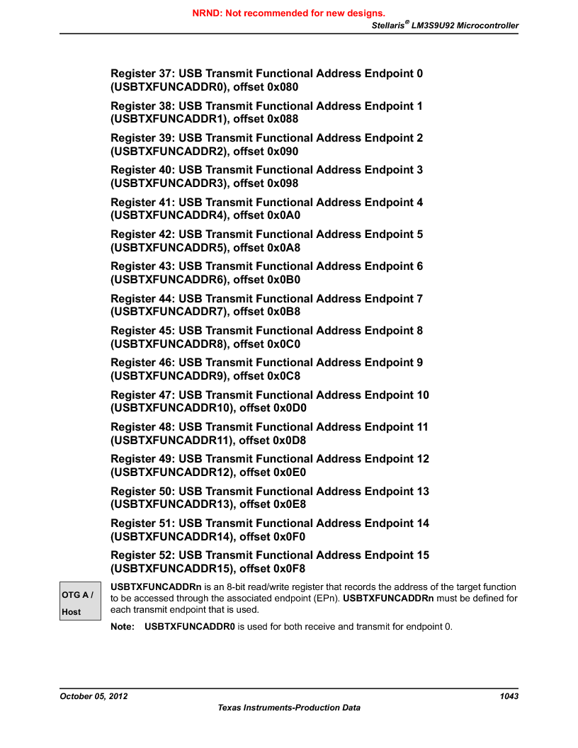 LM3S9U92-IBZ80-A2 ,Texas Instruments厂商,IC ARM CORTEX MCU 384KB 108NFBGA, LM3S9U92-IBZ80-A2 datasheet预览  第1043页