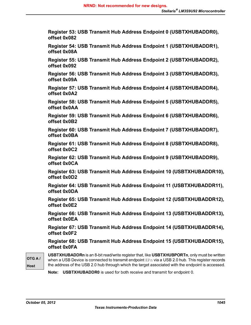 LM3S9U92-IBZ80-A2 ,Texas Instruments厂商,IC ARM CORTEX MCU 384KB 108NFBGA, LM3S9U92-IBZ80-A2 datasheet预览  第1045页