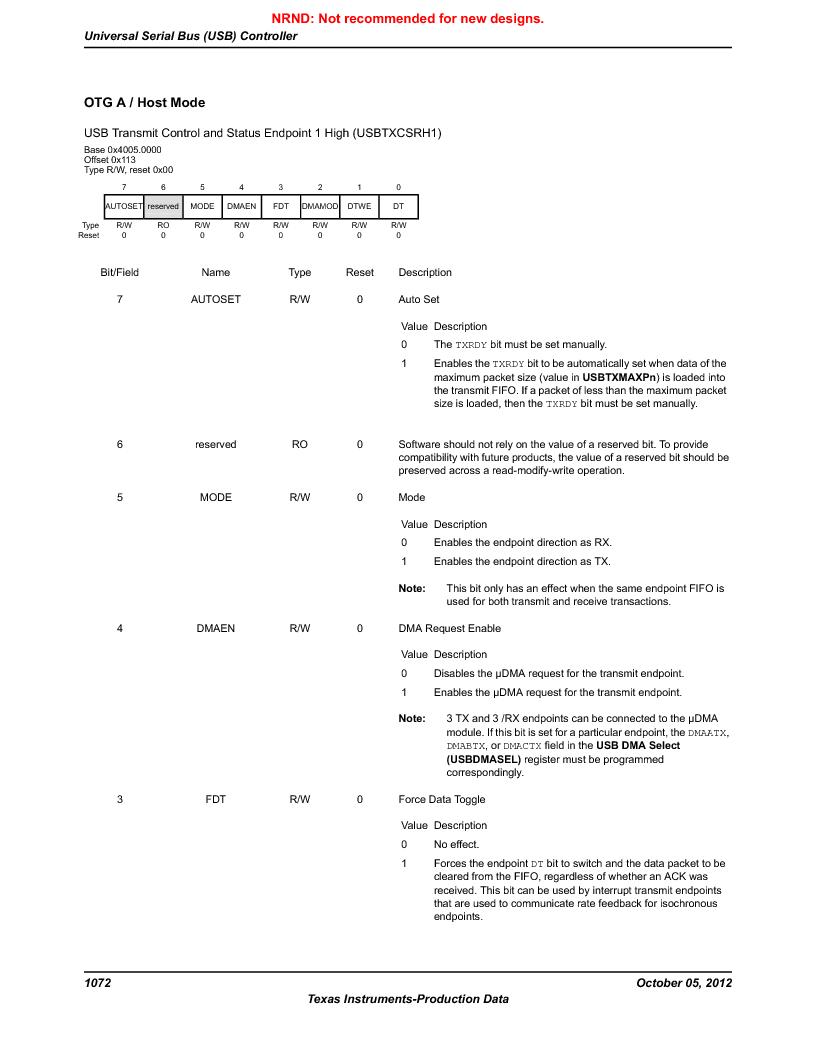 LM3S9U92-IBZ80-A2 ,Texas Instruments厂商,IC ARM CORTEX MCU 384KB 108NFBGA, LM3S9U92-IBZ80-A2 datasheet预览  第1072页