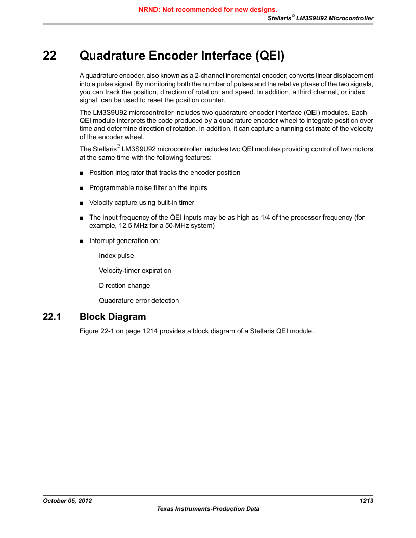 LM3S9U92-IBZ80-A2 ,Texas Instruments厂商,IC ARM CORTEX MCU 384KB 108NFBGA, LM3S9U92-IBZ80-A2 datasheet预览  第1213页