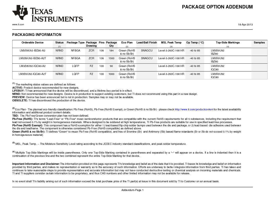 LM3S9U92-IBZ80-A2 ,Texas Instruments厂商,IC ARM CORTEX MCU 384KB 108NFBGA, LM3S9U92-IBZ80-A2 datasheet预览  第1409页
