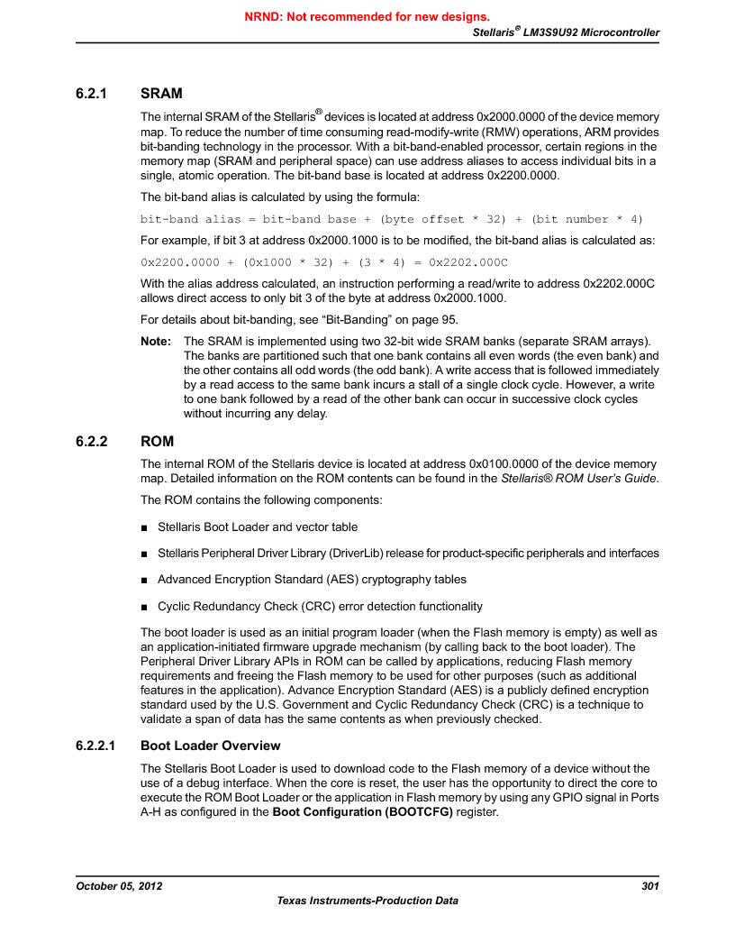 LM3S9U92-IBZ80-A2 ,Texas Instruments厂商,IC ARM CORTEX MCU 384KB 108NFBGA, LM3S9U92-IBZ80-A2 datasheet预览  第301页