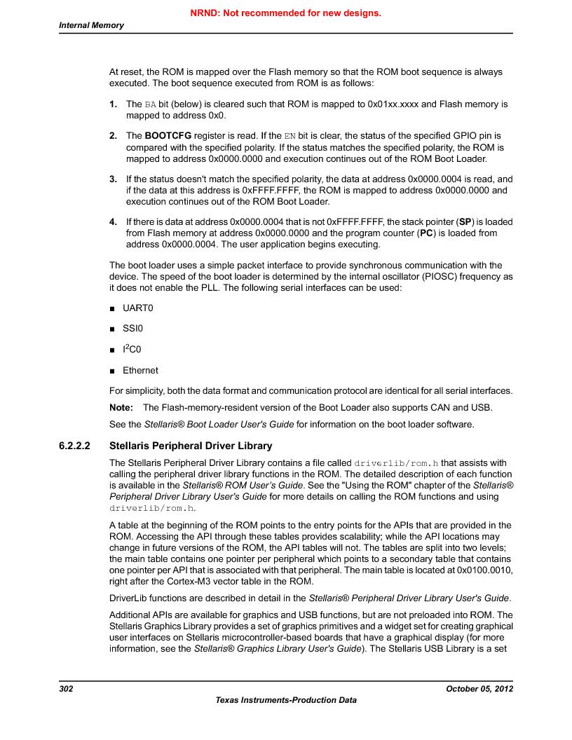 LM3S9U92-IBZ80-A2 ,Texas Instruments厂商,IC ARM CORTEX MCU 384KB 108NFBGA, LM3S9U92-IBZ80-A2 datasheet预览  第302页