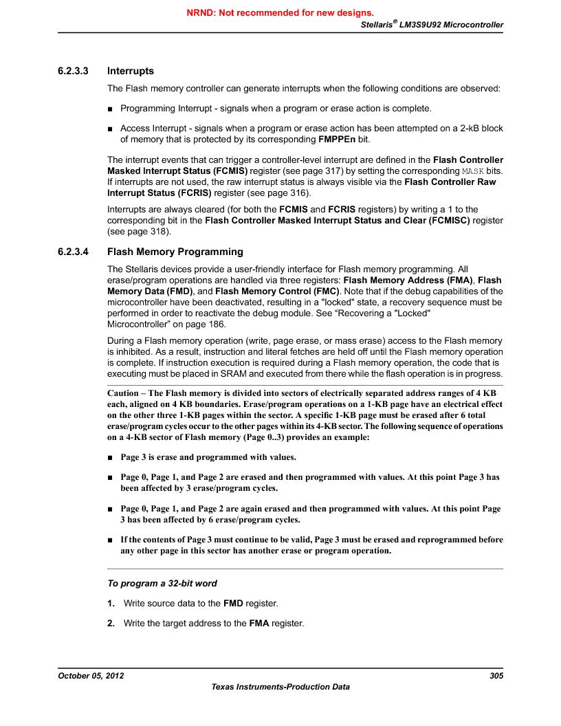 LM3S9U92-IBZ80-A2 ,Texas Instruments厂商,IC ARM CORTEX MCU 384KB 108NFBGA, LM3S9U92-IBZ80-A2 datasheet预览  第305页