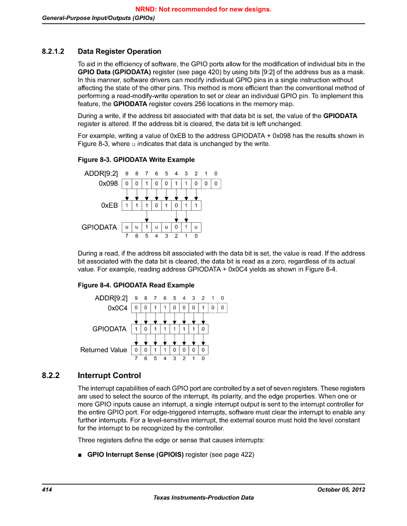 LM3S9U92-IBZ80-A2 ,Texas Instruments厂商,IC ARM CORTEX MCU 384KB 108NFBGA, LM3S9U92-IBZ80-A2 datasheet预览  第414页