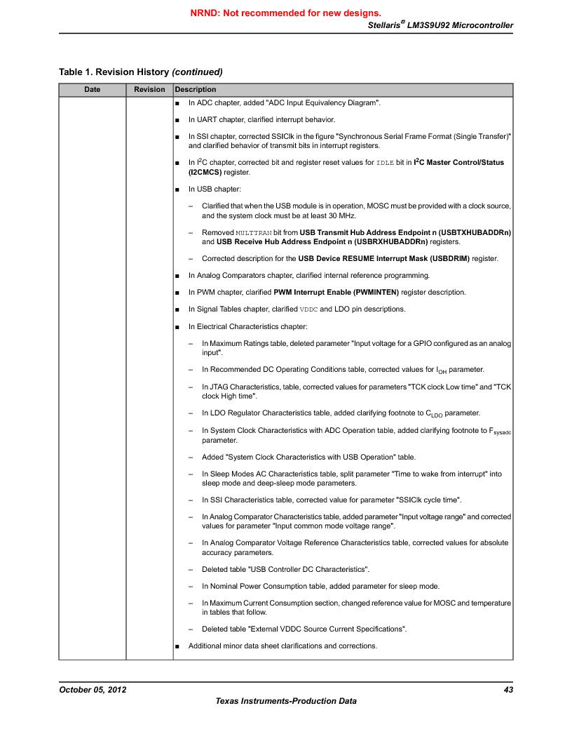 LM3S9U92-IBZ80-A2 ,Texas Instruments厂商,IC ARM CORTEX MCU 384KB 108NFBGA, LM3S9U92-IBZ80-A2 datasheet预览  第43页