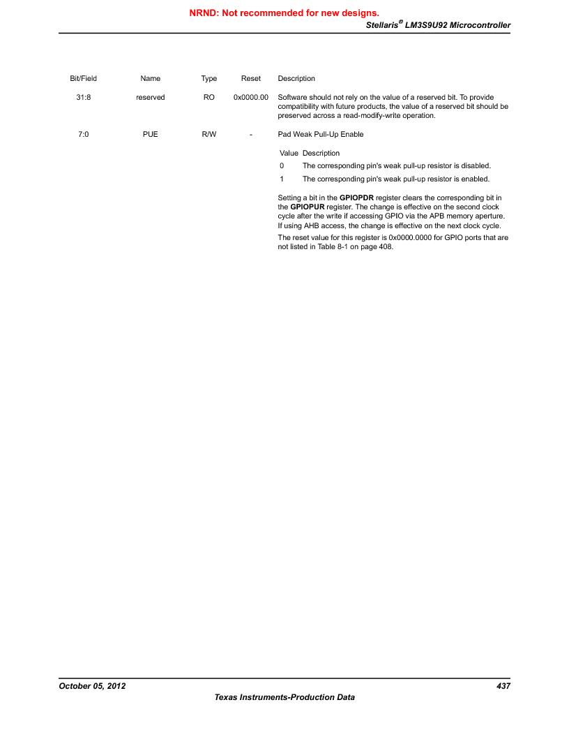 LM3S9U92-IBZ80-A2 ,Texas Instruments厂商,IC ARM CORTEX MCU 384KB 108NFBGA, LM3S9U92-IBZ80-A2 datasheet预览  第437页