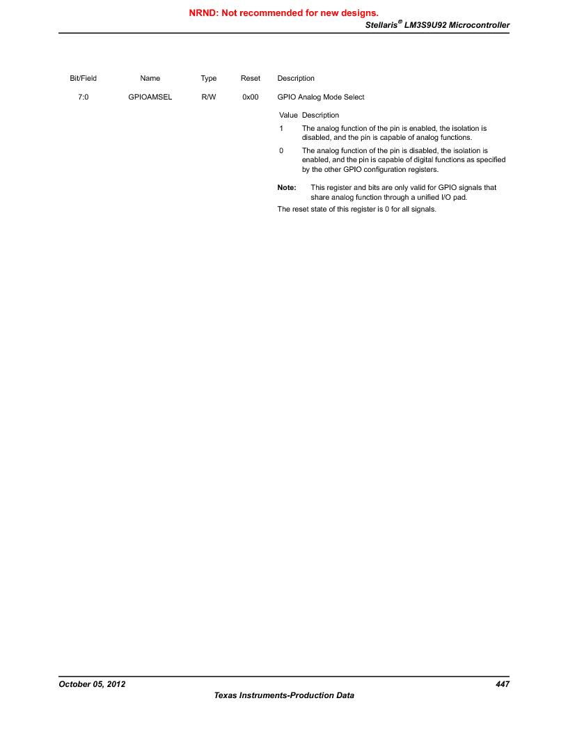LM3S9U92-IBZ80-A2 ,Texas Instruments厂商,IC ARM CORTEX MCU 384KB 108NFBGA, LM3S9U92-IBZ80-A2 datasheet预览  第447页