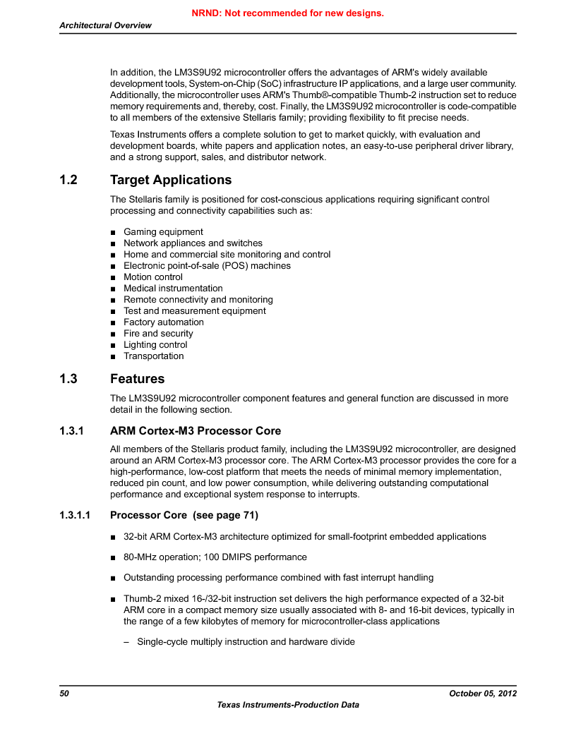 LM3S9U92-IBZ80-A2 ,Texas Instruments厂商,IC ARM CORTEX MCU 384KB 108NFBGA, LM3S9U92-IBZ80-A2 datasheet预览  第50页