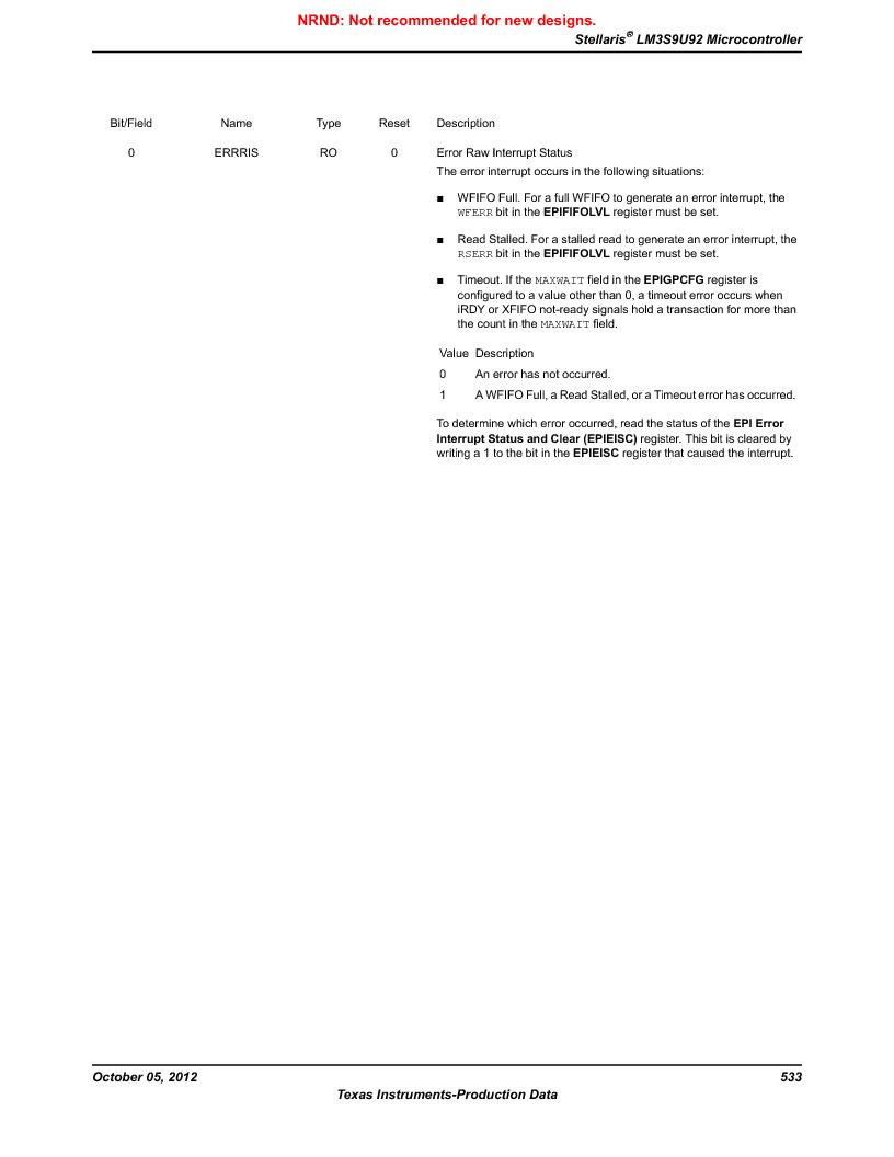 LM3S9U92-IBZ80-A2 ,Texas Instruments厂商,IC ARM CORTEX MCU 384KB 108NFBGA, LM3S9U92-IBZ80-A2 datasheet预览  第533页