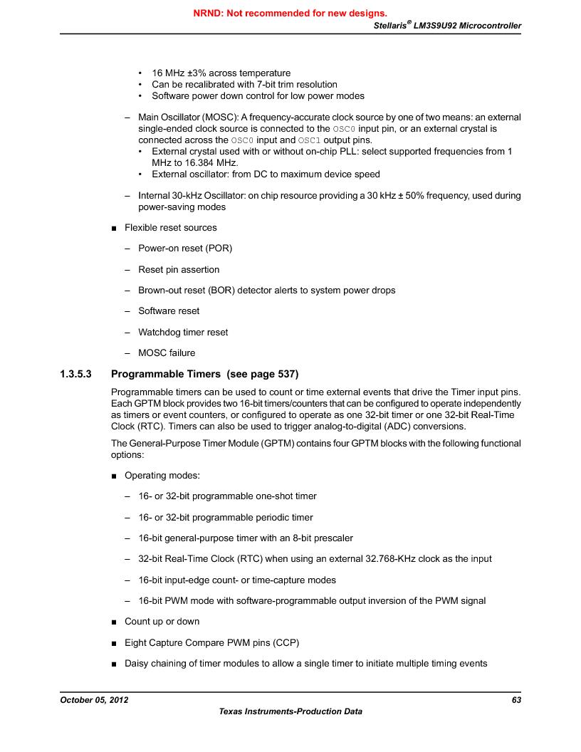 LM3S9U92-IBZ80-A2 ,Texas Instruments厂商,IC ARM CORTEX MCU 384KB 108NFBGA, LM3S9U92-IBZ80-A2 datasheet预览  第63页