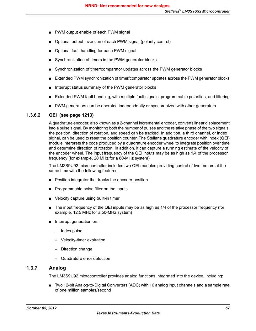 LM3S9U92-IBZ80-A2 ,Texas Instruments厂商,IC ARM CORTEX MCU 384KB 108NFBGA, LM3S9U92-IBZ80-A2 datasheet预览  第67页