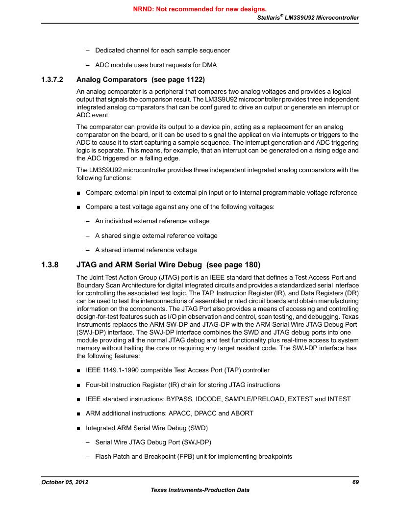 LM3S9U92-IBZ80-A2 ,Texas Instruments厂商,IC ARM CORTEX MCU 384KB 108NFBGA, LM3S9U92-IBZ80-A2 datasheet预览  第69页