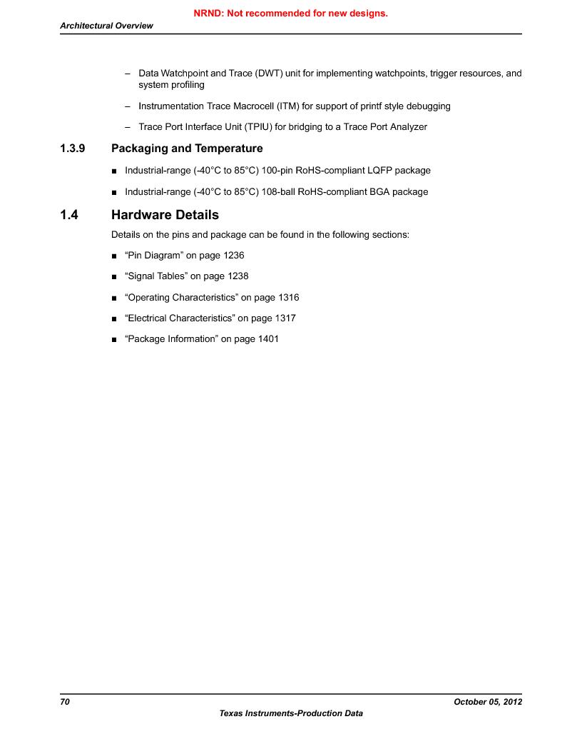 LM3S9U92-IBZ80-A2 ,Texas Instruments厂商,IC ARM CORTEX MCU 384KB 108NFBGA, LM3S9U92-IBZ80-A2 datasheet预览  第70页