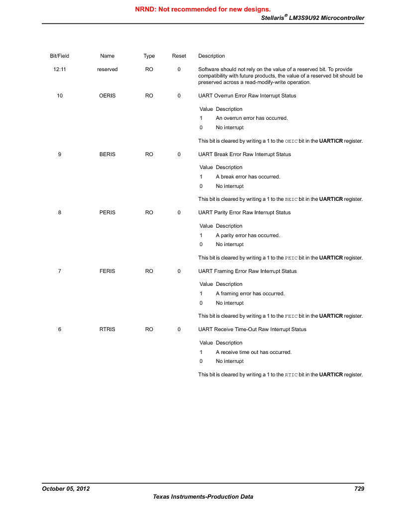 LM3S9U92-IBZ80-A2 ,Texas Instruments厂商,IC ARM CORTEX MCU 384KB 108NFBGA, LM3S9U92-IBZ80-A2 datasheet预览  第729页