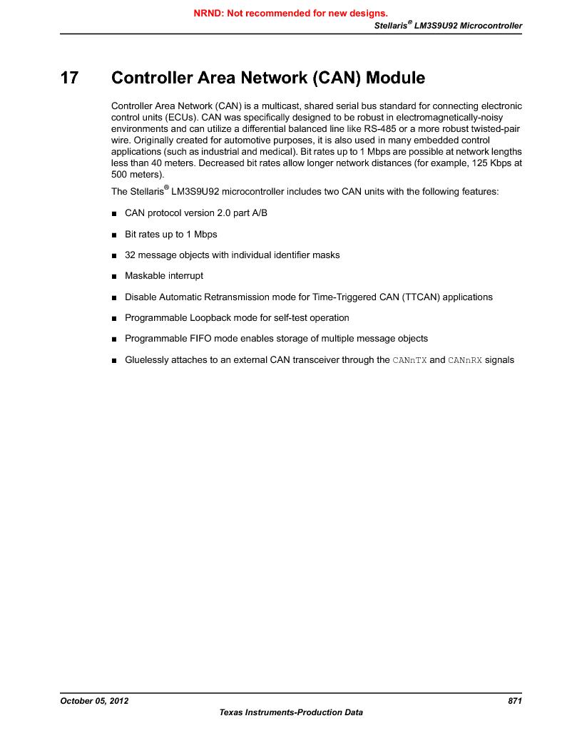 LM3S9U92-IBZ80-A2 ,Texas Instruments厂商,IC ARM CORTEX MCU 384KB 108NFBGA, LM3S9U92-IBZ80-A2 datasheet预览  第871页