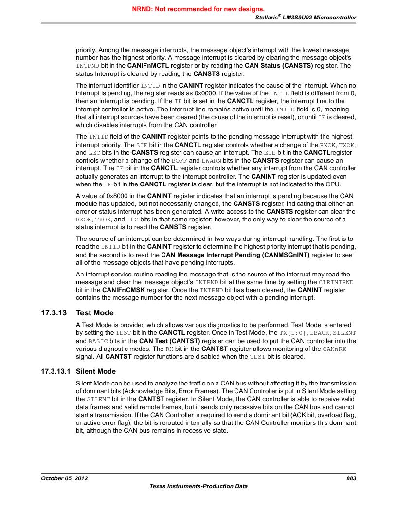 LM3S9U92-IBZ80-A2 ,Texas Instruments厂商,IC ARM CORTEX MCU 384KB 108NFBGA, LM3S9U92-IBZ80-A2 datasheet预览  第883页