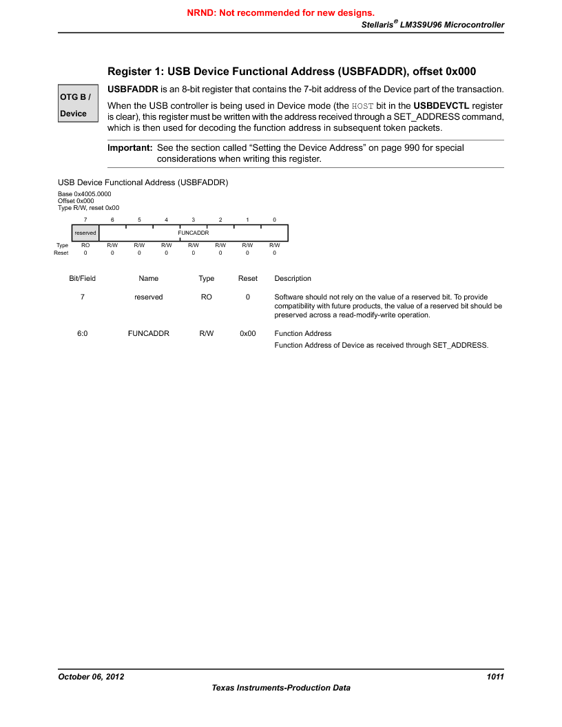 LM3S9U96-IBZ80-A1T ,Texas Instruments厂商,IC ARM CORTEX MCU 384KB 108NFBGA, LM3S9U96-IBZ80-A1T datasheet预览  第1011页