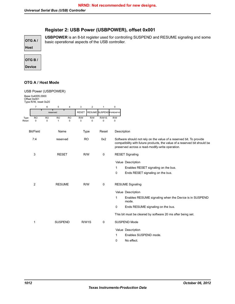 LM3S9U96-IBZ80-A1T ,Texas Instruments厂商,IC ARM CORTEX MCU 384KB 108NFBGA, LM3S9U96-IBZ80-A1T datasheet预览  第1012页