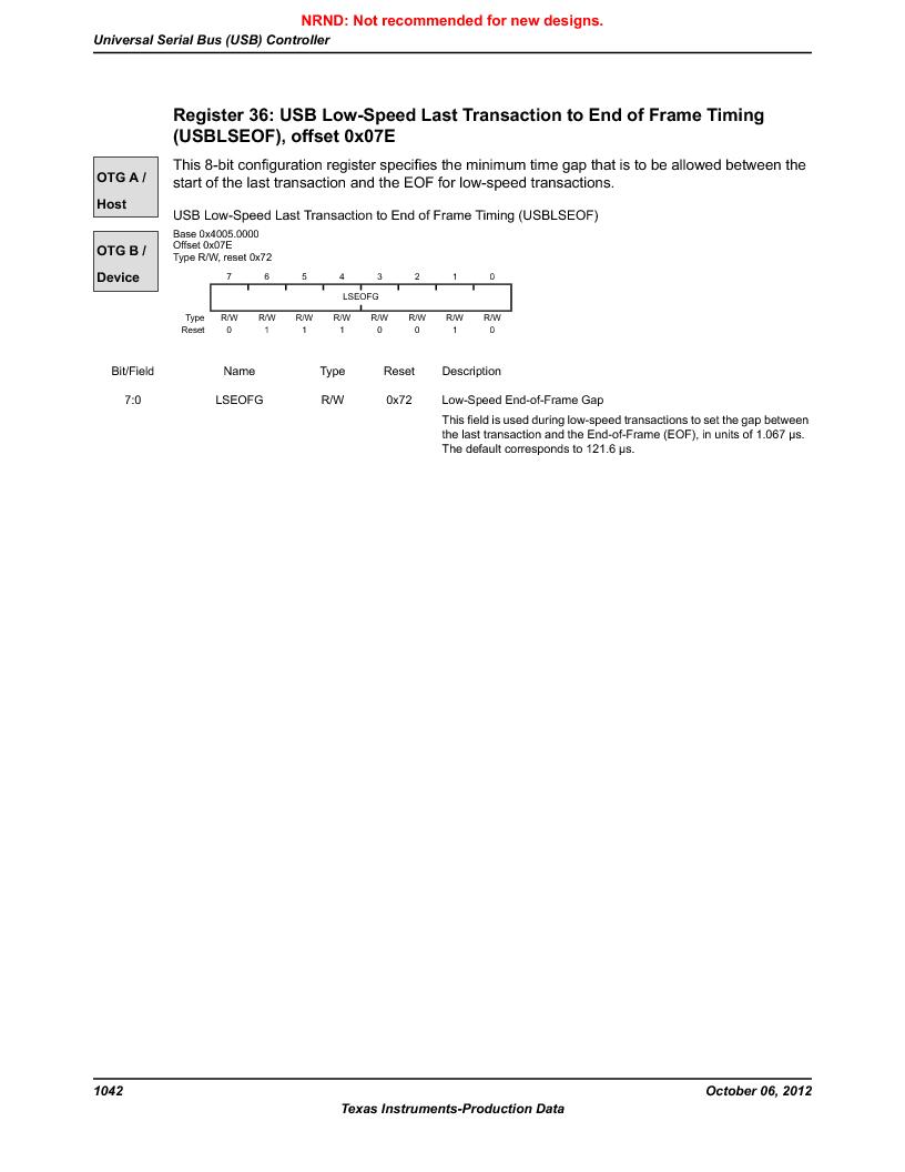 LM3S9U96-IBZ80-A1T ,Texas Instruments厂商,IC ARM CORTEX MCU 384KB 108NFBGA, LM3S9U96-IBZ80-A1T datasheet预览  第1042页