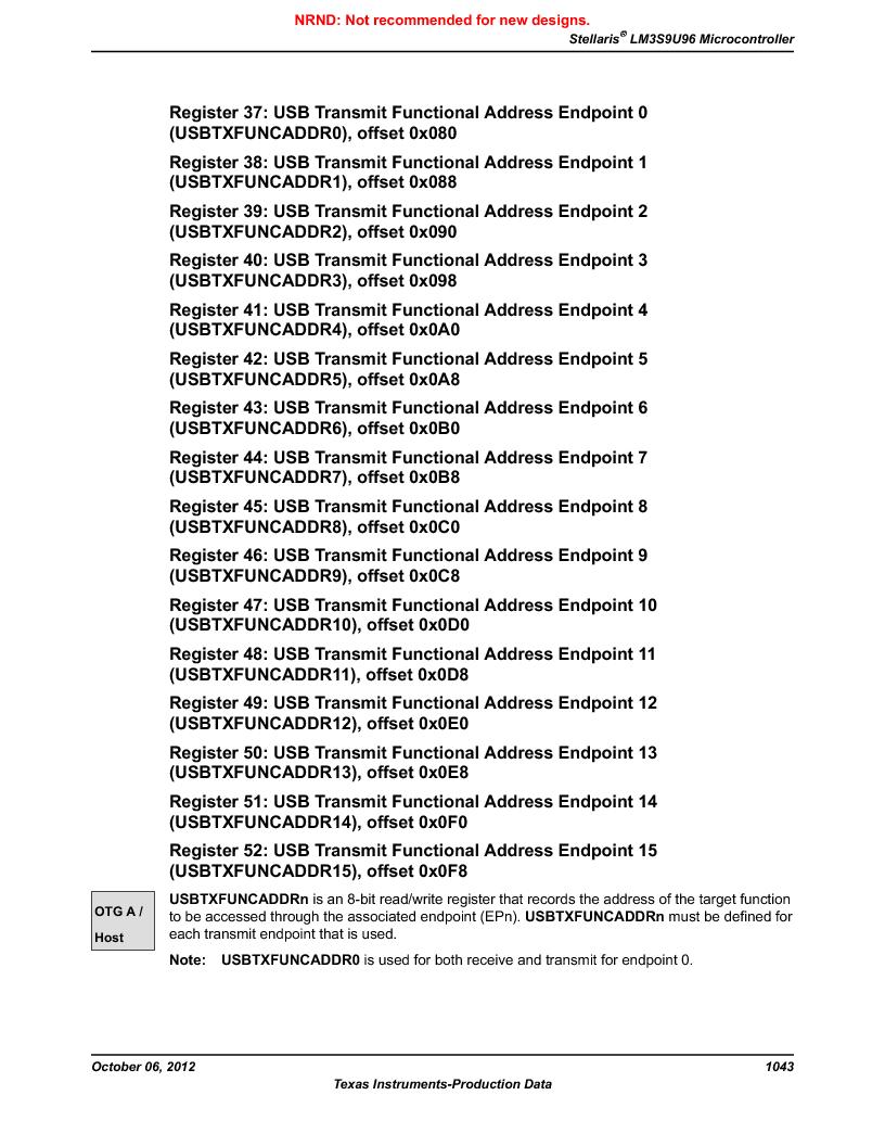 LM3S9U96-IBZ80-A1T ,Texas Instruments厂商,IC ARM CORTEX MCU 384KB 108NFBGA, LM3S9U96-IBZ80-A1T datasheet预览  第1043页