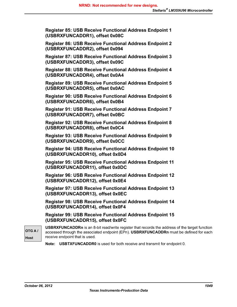 LM3S9U96-IBZ80-A1T ,Texas Instruments厂商,IC ARM CORTEX MCU 384KB 108NFBGA, LM3S9U96-IBZ80-A1T datasheet预览  第1049页