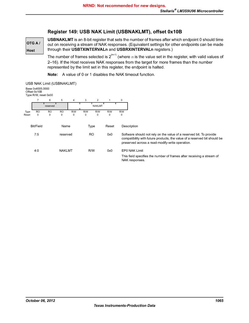 LM3S9U96-IBZ80-A1T ,Texas Instruments厂商,IC ARM CORTEX MCU 384KB 108NFBGA, LM3S9U96-IBZ80-A1T datasheet预览  第1065页