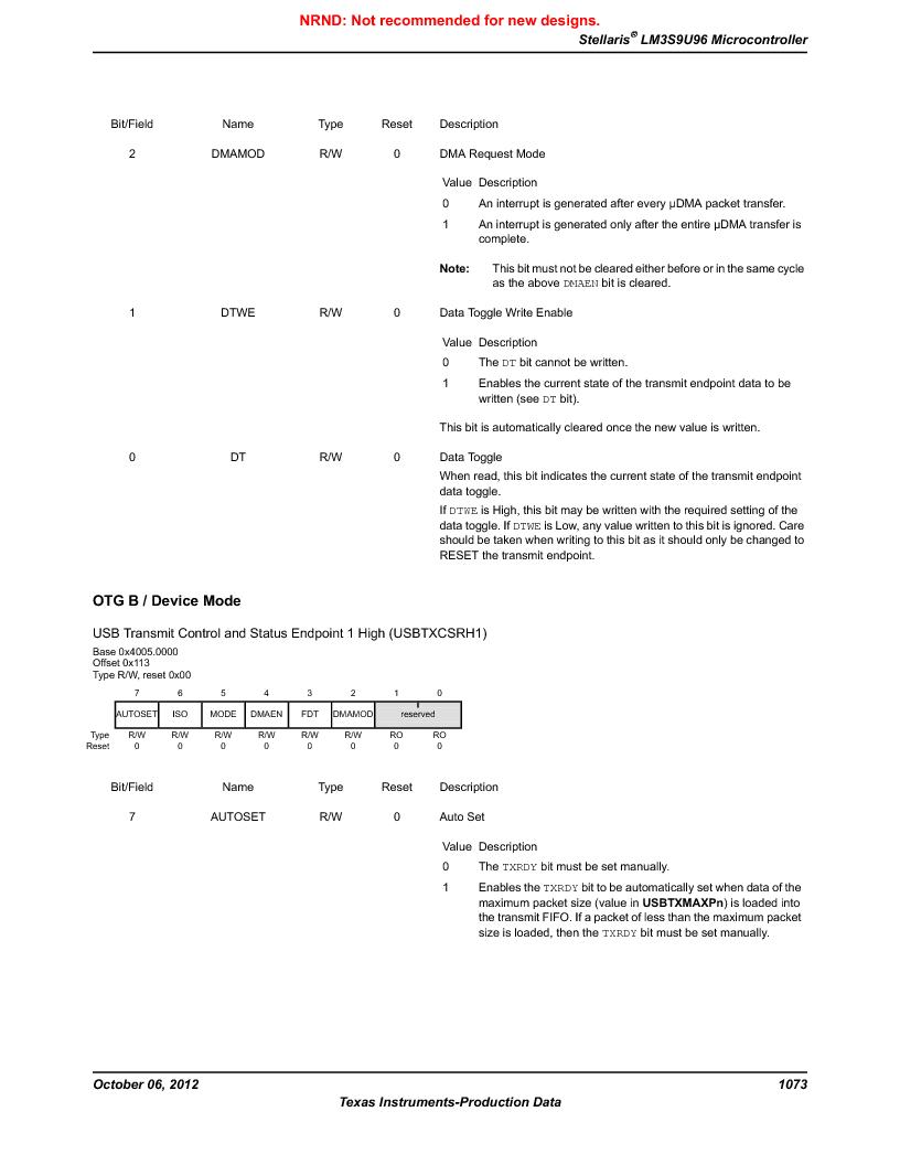 LM3S9U96-IBZ80-A1T ,Texas Instruments厂商,IC ARM CORTEX MCU 384KB 108NFBGA, LM3S9U96-IBZ80-A1T datasheet预览  第1073页