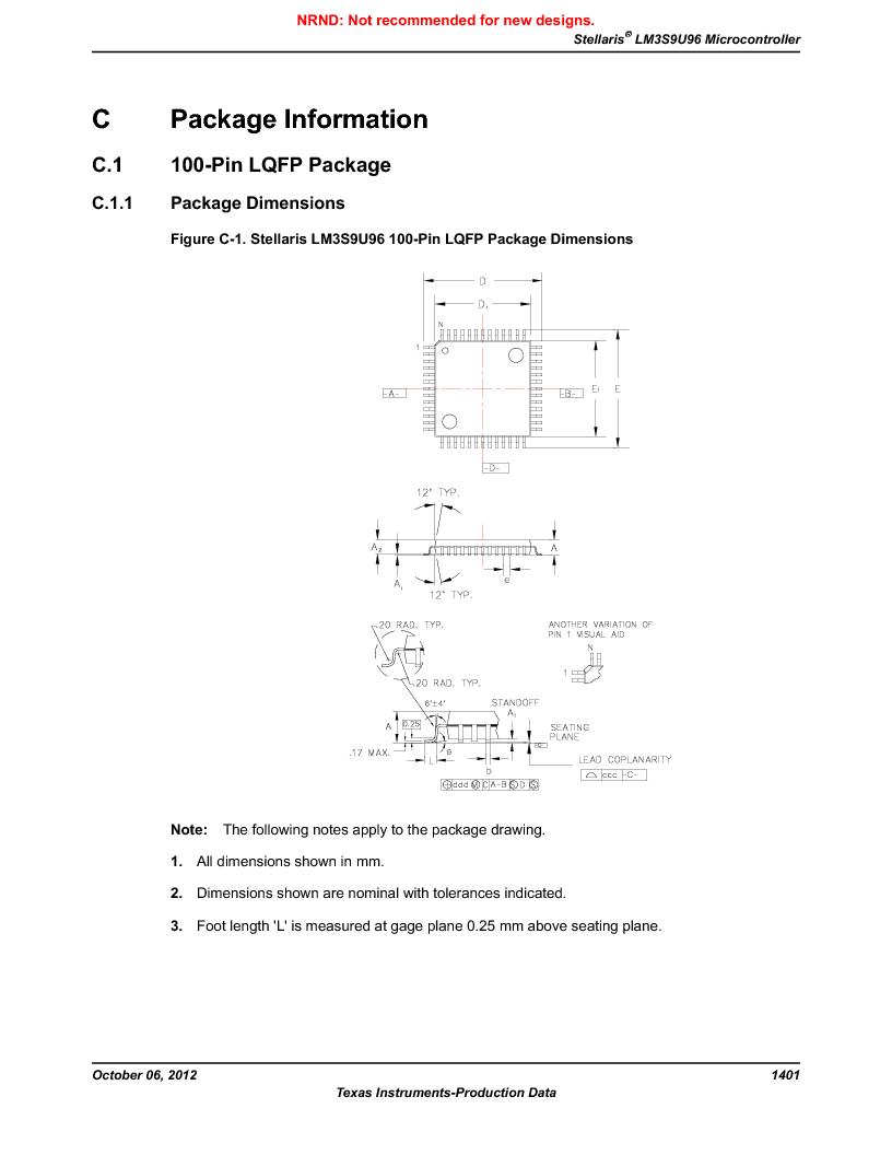 LM3S9U96-IBZ80-A1T ,Texas Instruments厂商,IC ARM CORTEX MCU 384KB 108NFBGA, LM3S9U96-IBZ80-A1T datasheet预览  第1401页